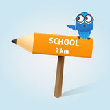 Back to School. School direction pencil arrow with an owl sitting above it Royalty Free Stock Images