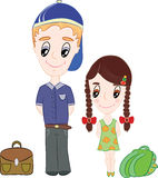 Back to school. Boy and girl are going to school Stock Image