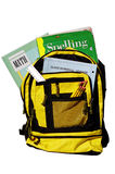 Back to school. Book bag full of school supplies like pencils, textbooks and notebooks Stock Photography