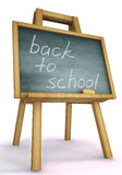 Back to school. 3d isolated blackboard with easel with text - back to school Stock Images