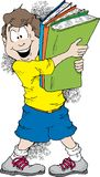 Back To School. Cartoon image of a boy holding a bunch of books ready for school Royalty Free Stock Photo