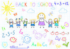 Back to school. Vector sketches with happy pupils and teacher. Sketch on notebook page Stock Photography