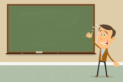 Back To School. Illustration of a cartoon teacher in the classroom welcoming children students Royalty Free Stock Images