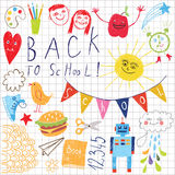 Back to school. Children drawing stock illustration