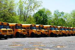 Back to school. Image of school busses in parking lot Royalty Free Stock Image
