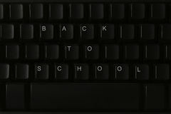 Back to School. A closeup of a black keyboard with the message, Back to School Royalty Free Stock Images