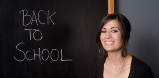 Back to School Teacher Front Blackboard Stock Images