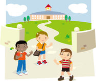 Back to school. Illustration of some children meet themselves at the font of school Royalty Free Stock Images