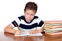 Back to school. Student child in the school over white background Stock Photos