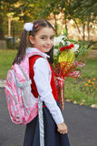 Back to School. A little girl on her way to school royalty free stock images