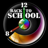 Back to school. Clock Illustration with hands shaped like pencils and written back to school Stock Images
