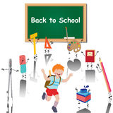 Back to school. Illustration of a little boy cartoon character with his satchel surrounded with school supplies on white background Stock Images