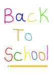 Back to school. Colorful child writing of Back to school text with a pencil Royalty Free Stock Image