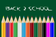 Back to school. Vector illustration with colored pencils and blackboard Royalty Free Stock Photos
