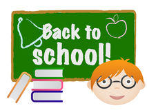 Back to school. On board with kid and books Royalty Free Stock Photography