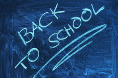 BACK TO SCHOOL. A dirty blackboard in the classroom at school with the message in words back to school written with white chalk on it symbolizing the end of the