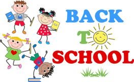Back to school. With mixed ethnic boys and girls Royalty Free Stock Images
