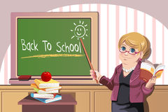 Back to school. A vector illustration of a teacher in front of the class pointing to blackboard showing back to school royalty free illustration