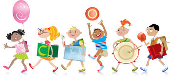 Back to school. Group of boys and girls coming back to scholl, holding different things with word SCHOOL written on them vector illustration