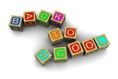 Back to school. 3d text: back to school making of childish wooden cubes Royalty Free Stock Photo