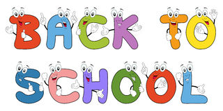 Back To School. Text with funny cartoon letters characters, isolated on white background. Eps file available Royalty Free Stock Image