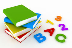 Back to school. Primary Education. Colorfull Books, Numbers and Letters. High Quality 3d Render Royalty Free Stock Photography