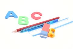 Back to school. Abc and some school supplies  isolated on white Stock Photo