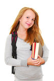 Back to school. Young smiling girl with a backpack and a globe isolated on white background Stock Photos
