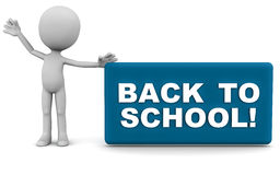 Back to school. Sign board hailed by a little 3d man against white background Stock Image