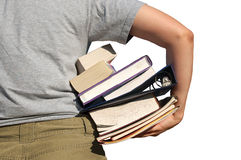 Back to school. Student with her books and folders. Isolated Stock Image