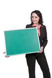 Back to School. Woman teacher holding a blank chalkboard or blackboard Royalty Free Stock Photography