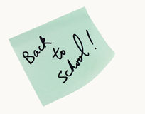 Back to School. Sticky note saying Back to School! isolated on white background stock photography