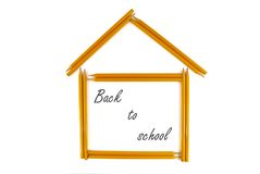 Back to school. Penciles like a symbol of school on the white background stock image