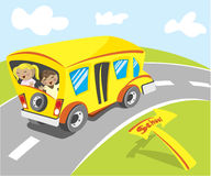 Back to school. Lovely school bus on the raod Stock Photo