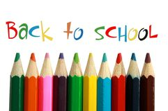 Back to School. A row of brightly coloured crayons Back to School stock photo