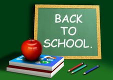 Back to School. A computer illustration of school equipment, with apple books pencils and chalkboard Royalty Free Stock Photo