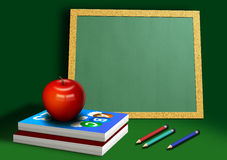 Back to School. A computer illustration of school equipment, with apple books pencils and chalkboard Stock Photos