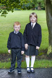 Back to school. Brother and sister ready for school Royalty Free Stock Images