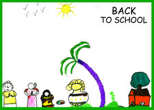 Back to school. Child water color drawing -  back to school concept Royalty Free Stock Photography