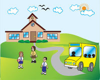 Back to school. Children going to school on first day Royalty Free Stock Image