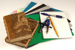 Back to School!. Close up of school supplies, books, paper, pens, caliper Stock Photos