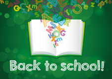 Back to School ABC book banner. Hand Drawn & x22;Back to School!& x22; vector illustration on green chalkboard Royalty Free Stock Images