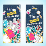 Back to school abstract background of flat icons Stock Photography