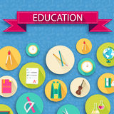 Back to school abstract background of flat icons Stock Image