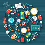 Back to school abstract background of flat icons Stock Photos