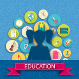 Back to school abstract background of flat icons Stock Images