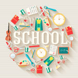 Back to school abstract background of flat icons Royalty Free Stock Image