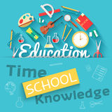 Back to school abstract background of flat icons Royalty Free Stock Photography