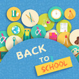 Back to school abstract background of flat icons Royalty Free Stock Images