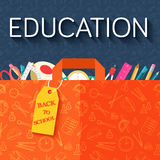 Back to school abstract background of flat icons stock illustration